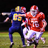 North Middlesex offensive lineman Ryan McGrath pass blocks during Friday night's loss. Nashoba Valley Voice/Ed Niser