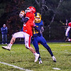 North Middlesex's Jake Hachey hauls in a pass during Friday night's loss to Quabbin. Nashoba Valley Voice/Ed Niser