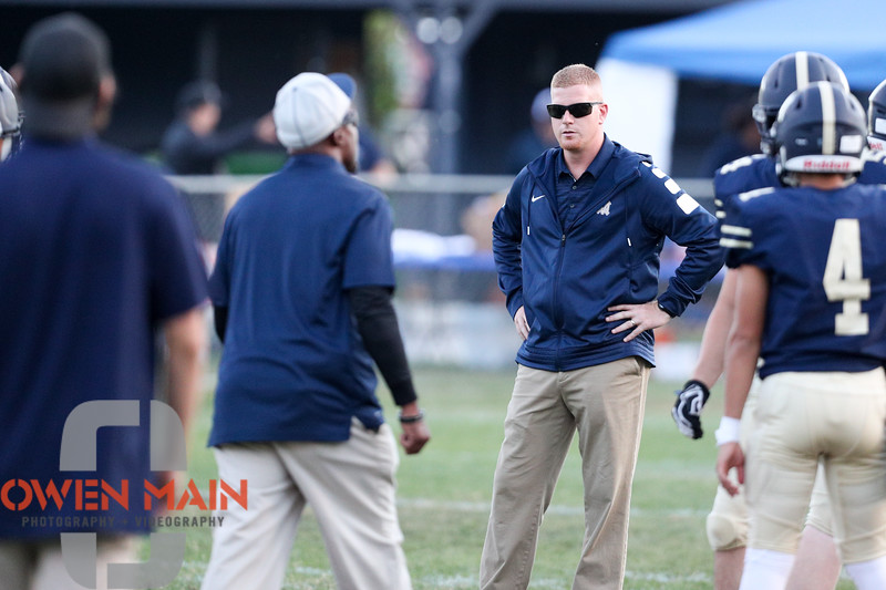 Miss Prep football hosted Greenfield at Mission Prep field in San Luis Obispo. 9/7/185:37:03 PM <br /> <br /> Photo by Owen Main