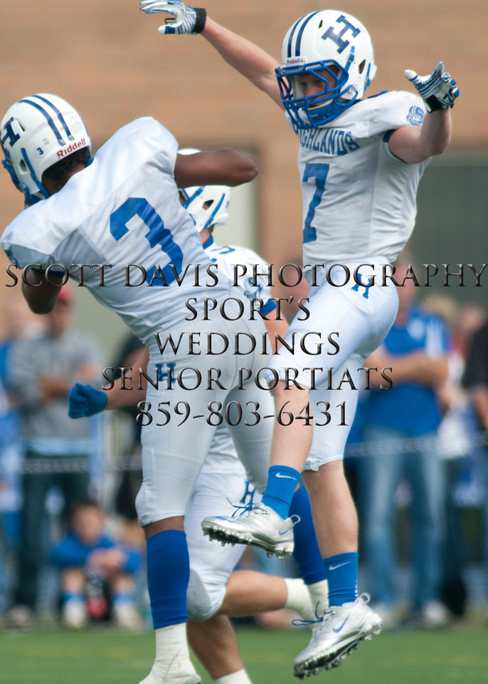 Highlands #7 (Sr) DB Carter New celebrates with Highlands #3 (Sr) DB Drake Bruns after making an interception.  Highlands defeated Cov Cath 42-37. (The Journal News/Scott Davis)