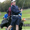 Ayer Shirley Regional High School played Fitchburg High School while Leominster High School, St. Bernard's and Northbridge High School played each other at Oak Hill Country Club on Tuesday, Oct. 8, 2019 in Fitchburg. St. B's senior David Gardnier tees off during his match. SENTINEL & ENTERPRISE/JOHN LOVE