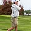 Ayer Shirley Regional High School played Fitchburg High School while Leominster High School, St. Bernard's and Northbridge High School played each other at Oak Hill Country Club on Tuesday, Oct. 8, 2019 in Fitchburg. ASRHS's freshman Seth Valloiere tees off. SENTINEL & ENTERPRISE/JOHN LOVE