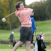 Ayer Shirley Regional High School played Fitchburg High School while Leominster High School, St. Bernard's and Northbridge High School played each other at Oak Hill Country Club on Tuesday, Oct. 8, 2019 in Fitchburg. St. B's senior Cole Dondero tees off. SENTINEL & ENTERPRISE/JOHN LOVE