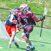 Groton-Dunstable's Michael Tammaro is defended by North Middlesex's Gavin Donohoe. Nashoba Valley Voice/Ed Niser