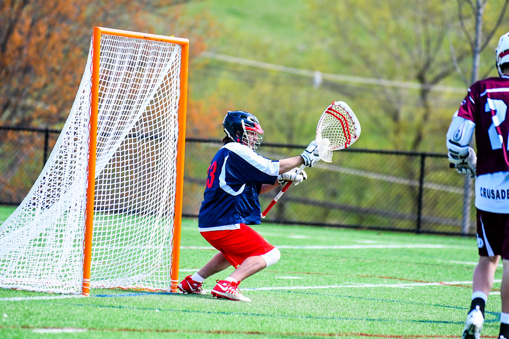 . North Middlesex\'s Jake Baron makes a save in the second half. Nashoba Valley Voice/Ed Niser