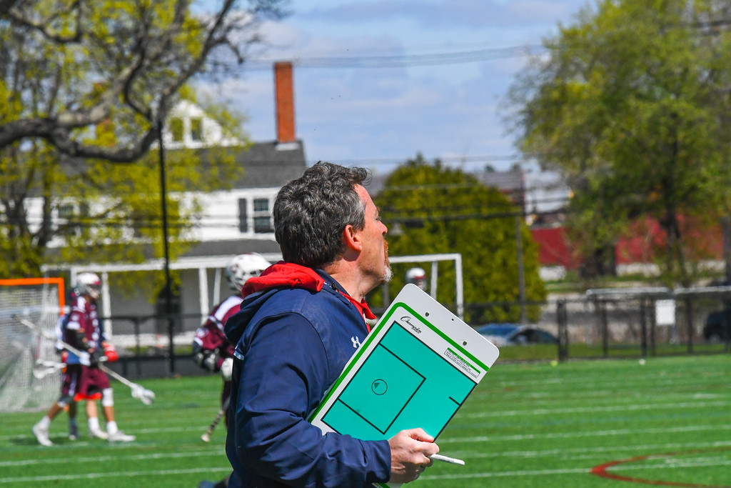 . North Middlesex head coach Sean McCaffrey gives orders to his team during the fourth quarter of Tuesday\'s game. Nashoba Valley Voice/Ed Niser