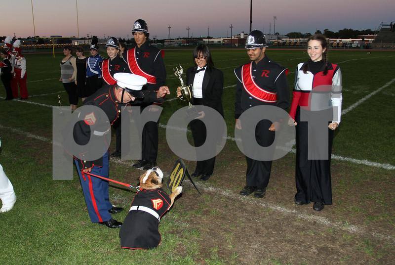 "Marine Mascot Bulldog "" Leatherneck"" salutes Robbinville MB 1st place in their division  Dan Massa"