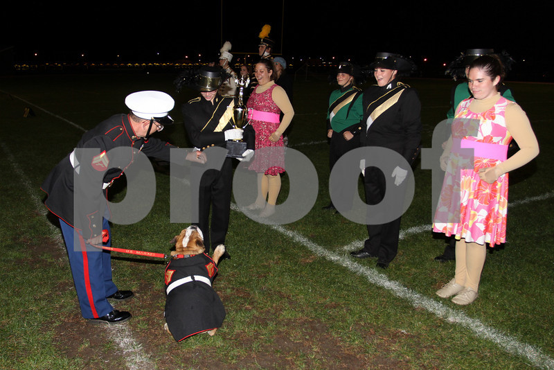 """Brick memorial Marching band  1st Place award from Marine Mascot """" Leatheneck"""""""