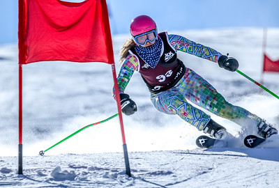 Edward Little's Brooke Lever navigates the third-to-last gate during her final run in the giant slalom event in the class A state alpine championships at Mt. Abram in Locke Mills.  Lever finished second in the event; her team also finished second. Lever makes a turn in the middle of the course during her first run in the giant slalom event in the class A state alpine championships at Mt. Abram in Locke Mills.  Lever finished second in the event; her team also finished second.