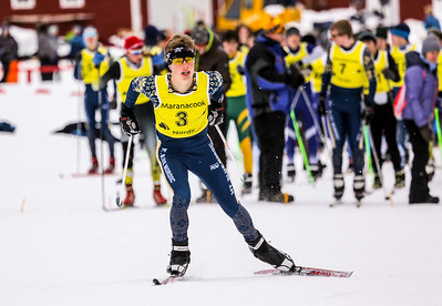 Dan Lesko sprints off the start of the freestyle pursuit yesterday at the KVAC nordic championships.  Lesko finished second.