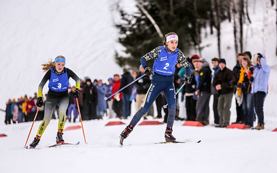 Mount Blue's Julia Ramsey leades Maranacook's Abby Despres nearing the finish of the freestyle event in the KVAC championships yesterday at Titcomb Mountain in Farmington.  Ramsey won the event.