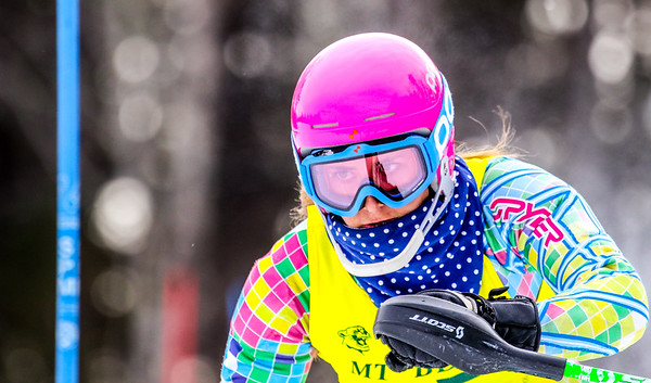 Brooke Lever eyes the next gate skiing her way to a second-place finish at yesterday's KVAC slalom championships.