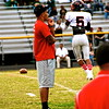 University of Maryland LB Alex Twine watches his old QO teammates warm up