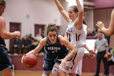 Dirigo's Sabrina Daoud tries to get by Monmouth's Haley West.
