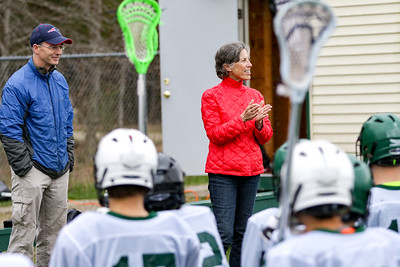 First Ever: Marge Medd, who along with husband Dr. Bill Medd donated money to help start the inagural OHMS lacrosse program, speaks to the team before their first-ever home game.