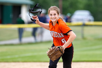 Skowhegan's Sydney Ames reacts afterr striking out the final batter to end the second inning.  The Vikings managed to get runners on second and third, but were unable to score.