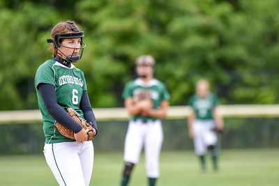 Oxford Hills' Cody Akers pauses to gather herself in the fourth inning where Skowhegan scored two runs to go ahead 5-1.