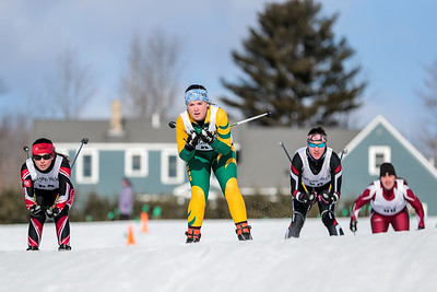 Left to right, Gwinna Remillard of Central Maine Ski Club, Emily Grenier of St. Does, Olivia Swift of Oxford Hills, and Time Finnerty of Edward Little look for position early on in their time trial.