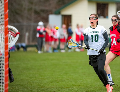 Oxford Hills' Hannah Hartnett scores a goal during the second half of the Vikings' game against Messalonskee yesterday in South Paris.