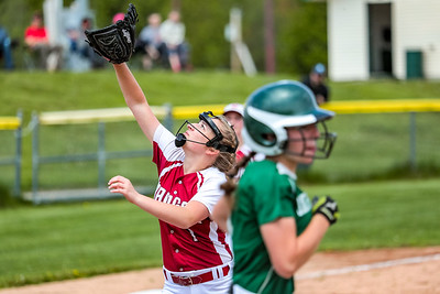 Bangor's Lexi Cunningham settles under a fly ball hit by Oxford Hills' Kaisa Heikkinen early in the game yesterday at the Gouin Complex in South Paris.
