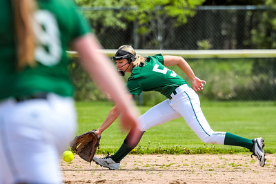 Oxford Hills' Madison Starfbird reaches for a ground ball up the middle yesterday at the Gouin Complex in South Paris.