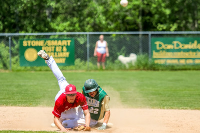 Bangor's George Payne and Oxford Hills Brayden Bean watch Payne's throw to first base get the second out of a double play.