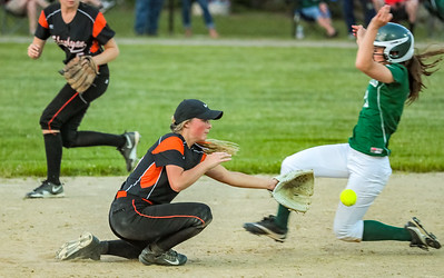 Oxford Hills Brooke Carson gets into second base ahead of the throw on a steal attempt.