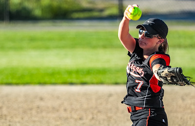 Skowhegan's Ashely Alward kept the vikings off balance all night with her speed and rising fastball.  Here, she delivers a pitch in the 1st inning.