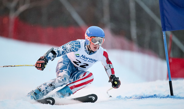 Winthrop's Maguire Anuszewski navigates a blue gate in the middle of his first run at Mt. Abram last night.