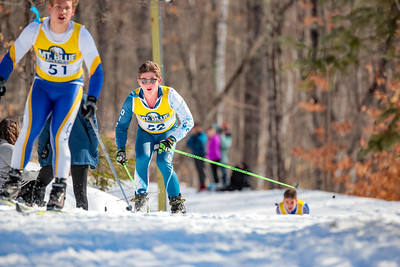 Dirigo's Justin Cantin prepares to make a pass coming down a downhill part of the course.