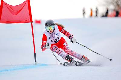 Oxford Hills' Caroline Burns makes a left-footed turn as she approaches the bottom of the course during her second run at the class A giant slalom championships at Mt. Abram Resort.
