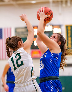 Lewiston's Madeline Foster gets the defensive rebound over Oxford Hills' Brooke Carson.