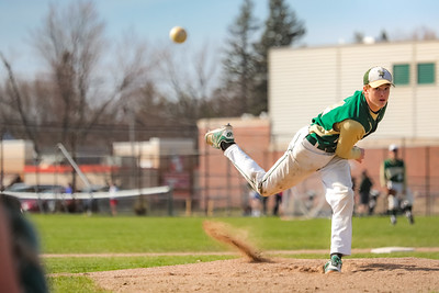 Then and Now: Then nine-year-old Ethan Cutler poses in the Hebron Staion School after pitching a Cal Ripkin no-hitter. Now fifteen-year-old Ethan Cutler gets the starting nod pitching for the Oxford Hills Vikings against Leavitt.