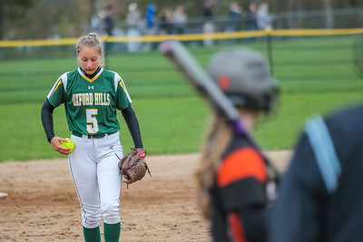 Oxford Hills pitcher Lauren Merrill prepares to deliver.