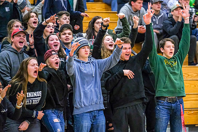 Oxford Hills fans celebrate after a Viking three-pointer.