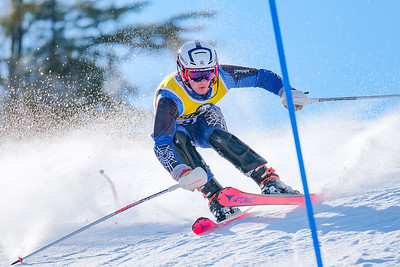 Oxford Hills' Colby VanDecker gets out over his skis in his second run.  VanDecker recoverd and finished second.
