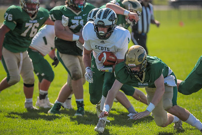 Bonney Eagle's Zachariah Oja runs into the endzone for the first score of the game as Oxford Hills' Eli Soehren tries to make the stop.