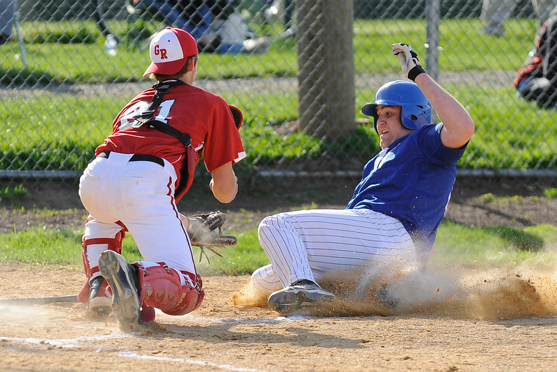 04/12/2010...Glen Rock catcher Tyler Blind (21) is ready for the tag at home plate on Scott Koningswood of Hawthorne.<br /> PHOTO: KELLY BIRDSEYE