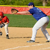 04/12/2010...Glen Rock's  Brendan Miller (10) taking a lead off first base against Hawthorne.<br /> PHOTO: KELLY BIRDSEYE