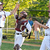04/30/2010...Don Bosco Pitcher Eric Stevens (22) gets congratulated by catcher Ken O'Donnell and Nick Brun after their 5-1 win over St. Joseph<br /> PHOTO: KELLY BIRDSEYE