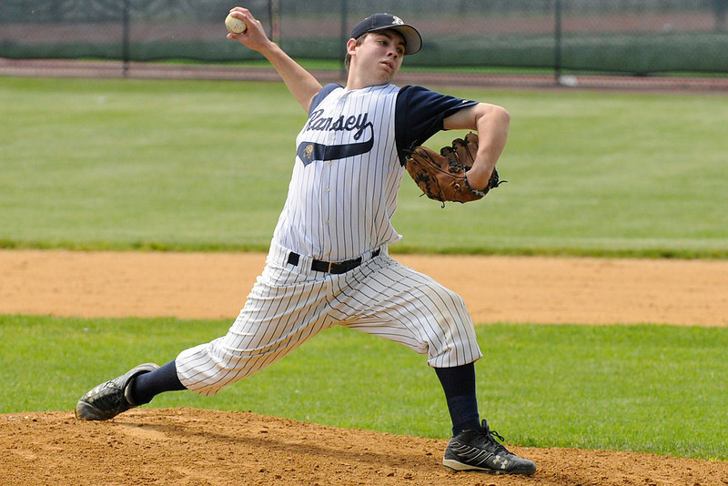 05/15/2010...Ramsey pitcher Luke Rosenberger on the mound against Ridgewood in the Bergen County Tournament.<br /> PHOTO: KELLY BIRDSEYE