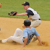 05/016/2010...Ramsey's Brian Stevens shows the ball to the umpire after getting the tag on Mahwah's Curtis Benedetto (12) stealing second base.<br /> PHOTO: KELLY BIRDSEYE