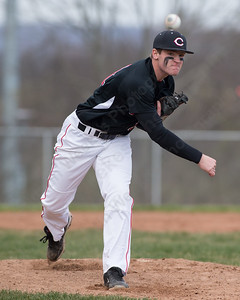 Cheshire's Ben DeLaubell warms up between innings Monday at Sheehan High School in Wallingford Apr. 11, 2016 | Justin Weekes / For the Record-Journal