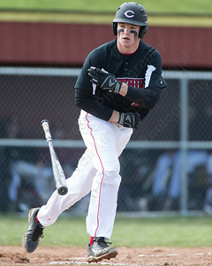 Cheshire's pitcher Ben DeLaubell tosses the bat after being walked Monday at Sheehan High School in Wallingford Apr. 11, 2016 | Justin Weekes / For the Record-Journal