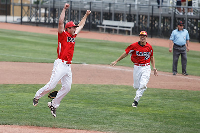 Cheshire's Ben DeLaubell leaps after the last out in celebration Saturday during the CIAC Class LL final at Palmer Field in Middletown. Cheshire Rams defeated Ridgefield 1-0  May 31, 2016 | Justin Weekes / Special to the Record-Journal