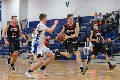 Cheshire's Brian Perrotti gets caught by Southington's Ryan Gesnaldo on the fast break Monday at Southington High School in Southington February 5, 2018 | Justin Weekes / Special to the Record-Journal