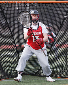 Cheshire's Joshua Selitte gets warmed up in goal Wednesday at Cheshire High School in Cheshire March 28, 2018 | Justin Weekes / Special to the Record-Journal