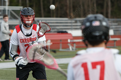 Cheshire's Timothy Hoynes catches a pass Wednesday at Cheshire High School in Cheshire March 28, 2018 | Justin Weekes / Special to the Record-Journal