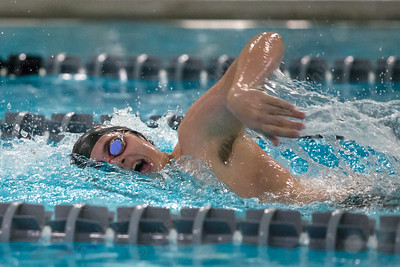 Cheshire's Peter Levens in the 200 freestyle Thursday at the Sheehan High School Natatorium in Wallingford  February 1, 2018 | Justin Weekes / Special to the Record-Journal