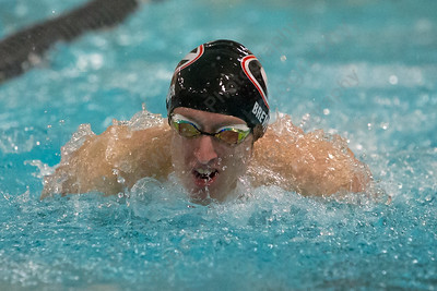 Cheshire's Ben Brewer in the 100 butterfly Thursday at the Sheehan High School Natatorium in Wallingford  February 1, 2018 | Justin Weekes / Special to the Record-Journal